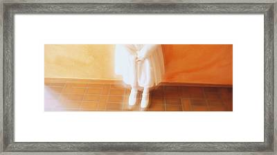 High Angle View Of A Girl Standing In Framed Print