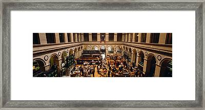 High Angle View Of A Group People Framed Print