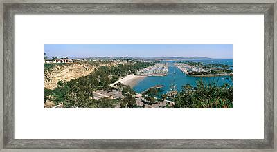 High Angle View Of A Harbor, Dana Point Framed Print