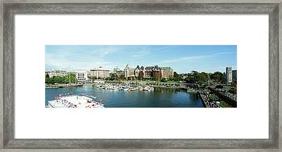 High Angle View Of A Harbor, Victoria Framed Print