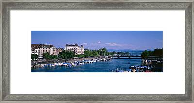 High Angle View Of A Harbor, Zurich Framed Print