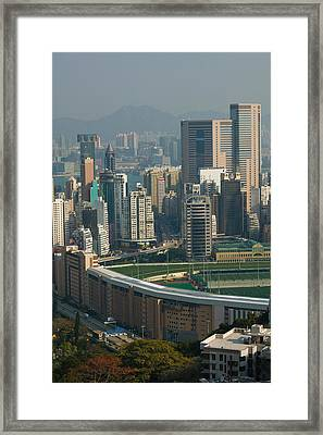 High Angle View Of A Horseracing Track Framed Print by Panoramic Images