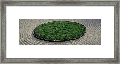 High Angle View Of A Japanese Garden Framed Print
