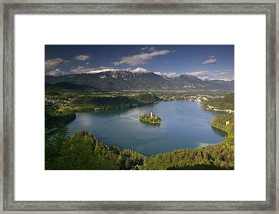 High Angle View Of A Lake, Lake Bled Framed Print by Panoramic Images