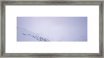 High Angle View Of A Ski Resort Framed Print