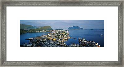 High Angle View Of A Town, Alesund Framed Print by Panoramic Images