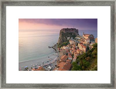 High Angle View Of A Town And A Castle Framed Print by Panoramic Images
