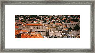 High Angle View Of A Town, Old Port Framed Print by Panoramic Images