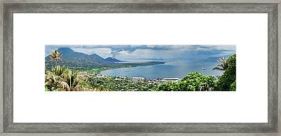 High Angle View Of A Town On The Coast Framed Print by Panoramic Images