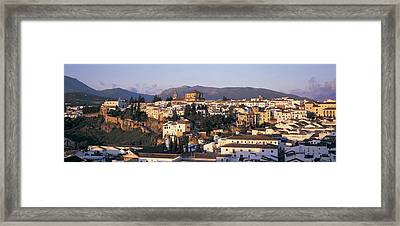 High Angle View Of A Town, Ronda Framed Print by Panoramic Images