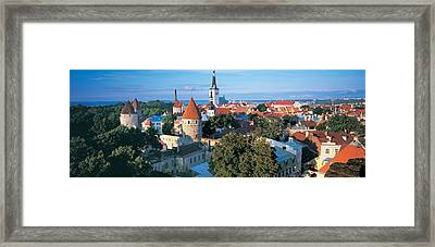 High Angle View Of A Town, Tallinn Framed Print