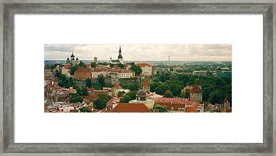 High Angle View Of A Townscape, Old Framed Print by Panoramic Images