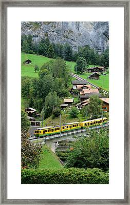 High Angle View Of A Train From Wengen Framed Print