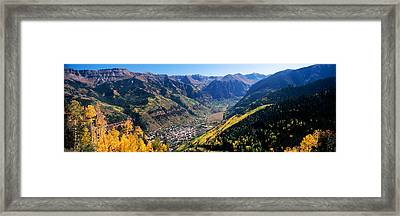 High Angle View Of A Valley, Telluride Framed Print