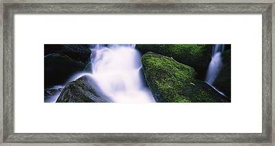 High Angle View Of A Waterfall, Roaring Framed Print