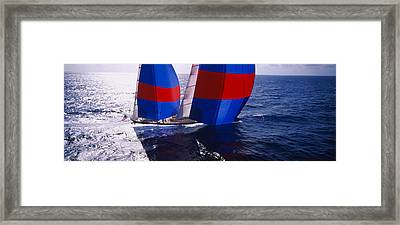 High Angle View Of A Yacht In The Sea Framed Print by Panoramic Images