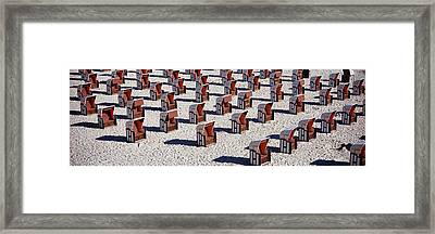 High Angle View Of Beach Baskets On The Framed Print