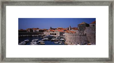 High Angle View Of Boats At A Port, Old Framed Print by Panoramic Images
