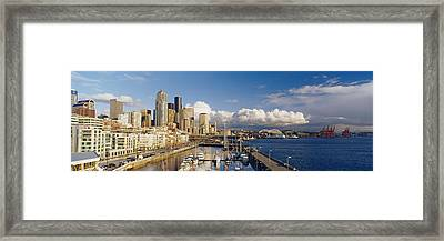 High Angle View Of Boats Docked At A Framed Print by Panoramic Images