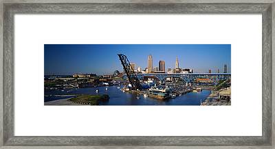 High Angle View Of Boats In A River Framed Print