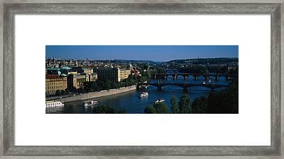High Angle View Of Bridges Framed Print