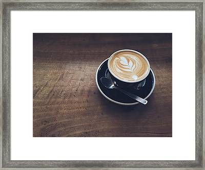 High Angle View Of Cappuccino On Wooden Framed Print by Eujin Goh / Eyeem