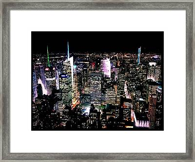 High Angle View Of Cityscape Lit Up At Framed Print by Paolo Tahalele / Eyeem