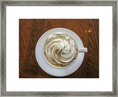 High Angle View Of Coffee With Whipped Framed Print by Yamaki Yuri / Eyeem