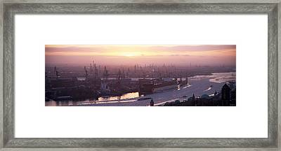 High Angle View Of Container Ships Framed Print