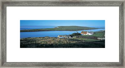 High Angle View Of Cottages Framed Print