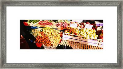 High Angle View Of Fruits Framed Print