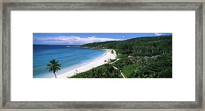 High Angle View Of Grand Anse Beach, La Framed Print