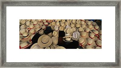 High Angle View Of Hats In A Market Framed Print