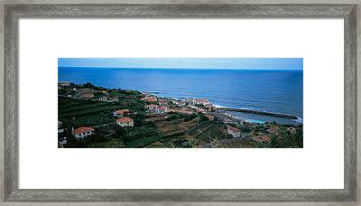 High Angle View Of Houses At A Coast Framed Print by Panoramic Images
