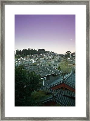 High Angle View Of Houses In The Old Framed Print
