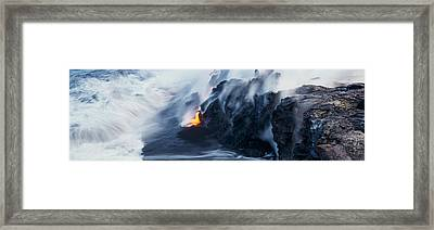 High Angle View Of Lava Flowing Framed Print by Panoramic Images
