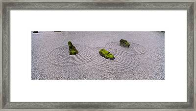 High Angle View Of Moss On Three Stones Framed Print by Panoramic Images