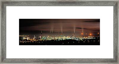 High Angle View Of Oil Refinery At Lit Framed Print by Panoramic Images