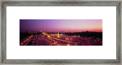 High Angle View Of Paris At Dusk Framed Print