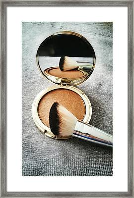 High Angle View Of Powder Compact With Framed Print by K.m. Zieba / Eyeem