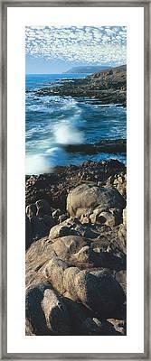 High Angle View Of Rocks On The Coast Framed Print