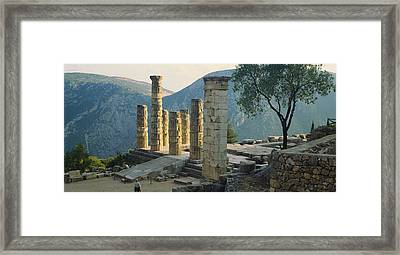 High Angle View Of Ruined Columns Framed Print