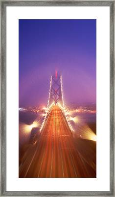 High Angle View Of Suspension Bridge Framed Print