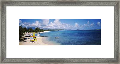 High Angle View Of The Beach, Kailua Framed Print by Panoramic Images