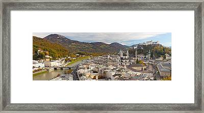 High Angle View Of The City, Salzburg Framed Print