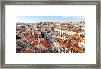 High Angle View Of The Rossio Square Framed Print by Panoramic Images