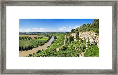 High Angle View Of Vineyards, Neckar Framed Print