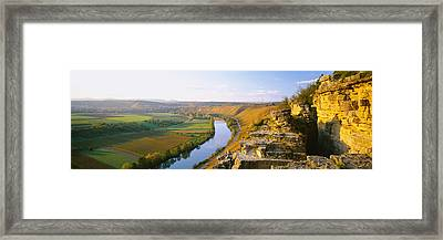 High Angle View Of Vineyards Framed Print by Panoramic Images