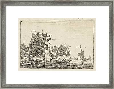 High Building On The Waterfront, Anthonie Waterloo Framed Print