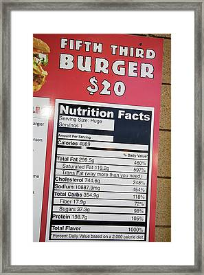 High Calorie Burger On Sale Framed Print by Jim West
